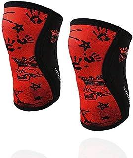 BanBroken Rodilleras RED SKULL (2 unds) - 5mm Knee Sleeves - Halterofilia, Deporte Funcional, Crossfit, Levantamiento de P...