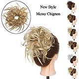 Chignon ChouChou Ebouriffé Postiche Extension de Cheveux Synthetique - Blond Cendré