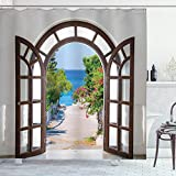 ABAKUHAUS Playa Cortina de Baño, La casa de Verano en el jardín, Material Resistente al Agua Durable Estampa Digital, 175 x 200 cm, Azul pálido Blanca