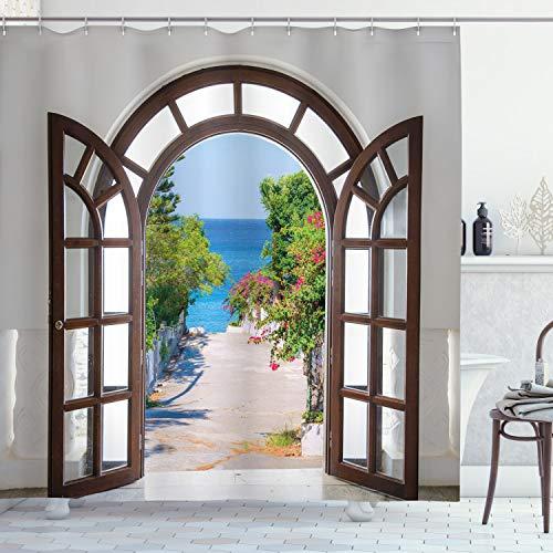 ABAKUHAUS Strand Duschvorhang, Summer Home in Garden, Set inkl.12 Haken aus Stoff Wasserdicht Bakterie & Schimmel Abweichent, 175 x 180 cm, Braun Weiß & Hellblau