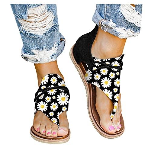 Sandale De Plage Chaussures Plates OrthopéDique Tongs Femme Fille Bout Ouvert Chausson Glissante Confortables Pantoufles Elegante Sexy Minceur Sandales AntidéRapante Slippers Grande Taille