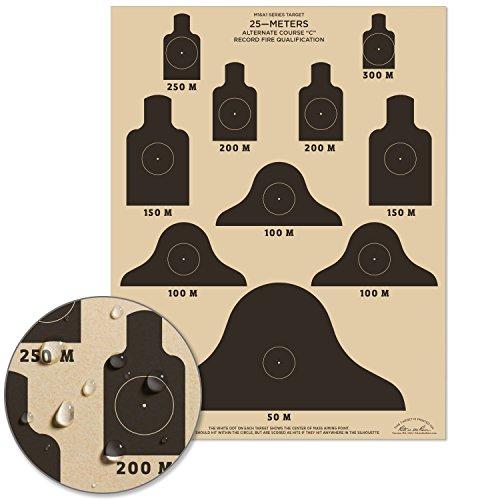 "Rite In The Rain Weatherproof 25m Alt C Qualification Targets, M16A1, 17"" x 22"", 10 Tan Tactical Targets per Pack (No. 9127X)"