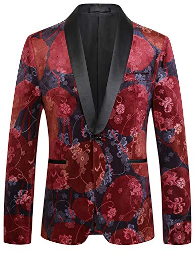 PIZOFF Mens Single Breasted Emboss Regular Fit Blazer Fluwelen pak