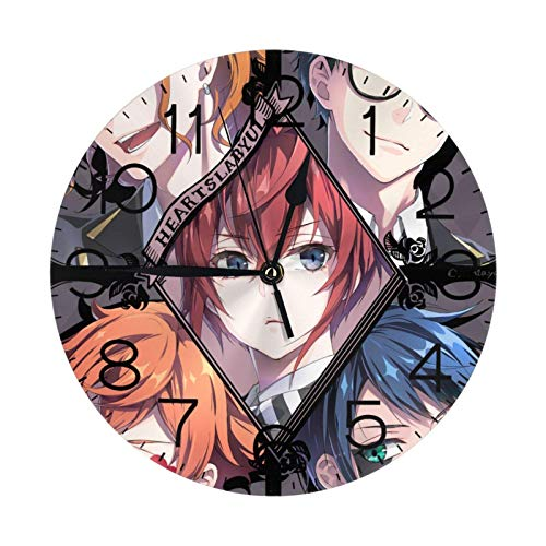 NOBRAND Soporte Base Relojes sin Marco Reloj Digital clásico sin tictac Reloj Twisted-Wonderland Número de Reloj de Pared Redondo