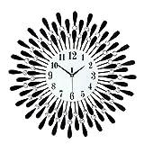 LIPENGWEI Moderno Circular Cristal Flor del Sol Relojes De Pared,Moda Salón Creativo Mudo Negro Cuarzo,Adecuado para Su Uso En La Sala De Estar Dormitorio Hotel Centros Comerciales-Negro. 70x70cm