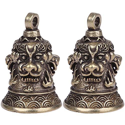 ルボナリエ キーホルダー 獅子 2個 厄除け アクセサリー 真鍮 レトロ 鈴 パーツ ペンダントトップ (獅子, 2個)