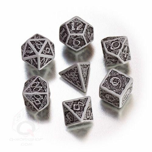 Q-Workshop Polyhedral 7-Die Set: Celtic 3D GRAY & Black Dice Set! by Q Workshop