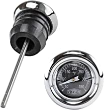 Chrome Shorty Style Oil Tank Dipstick with Oil Temperature Gauge - Black Gauge Face - Fits 1979-2003 Harley Sportster XL and 1984-1999 Harley Softail Models - Replaces HD Part# 62668-87T (40-0361)