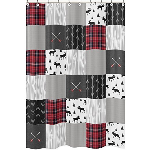 Sweet Jojo Designs Duschvorhang, grau/schwarz & rot, mit Waldmuster & Pfeil, für Badezimmer, rustikale Patch-Kollektion, Flanell, Elchgrau