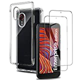 Funda para Samsung Galaxy Xcover 5 Silicona Transparente + [2-Pack] Protectores de Pantalla in Cristal Templado, Ultra Fina Carcasa Delgado Suave Flexible TPU Bumper Case - Claro