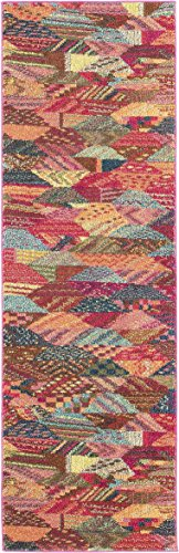 Unique Loom Sedona Collection Over-Dyed Southwestern Geometric Multi Läufer Teppich (60 x 60 cm)
