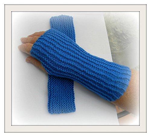 Knit Blue Fingerless Women's Winter Mittens Arm Warmer Winter Gloves Women's Gift Ideas boho style, Men's Gloves