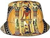 BONRI Sombreros de Cubo Transpirables con Parte Superior Plana Unisex Sombrero de Cubo de Acuario Sombrero de Pescador de Verano-Anubis el Dios Egipcio-Talla única