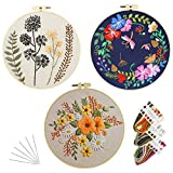 Embroidery Kits with Pattern for Adults Kids Beginner, 3 Packs Cross Stitch Kits Included Embroidery Cloth Craft Stamped Hoops Threads Needles