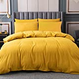 Yellow Duvet Cover Queen Size, 100% Microfiber Solid Color 3 Pieces Comforter Cover Sets, Bedding Duvet Cover Soft and Breathable with Zipper Closure & Corner Ties, 90x90 inches