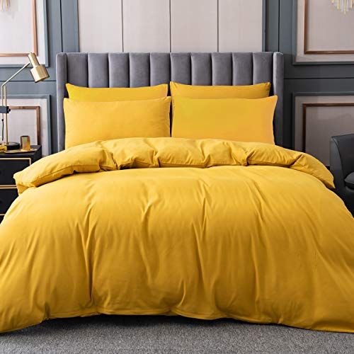 Yellow Duvet Cover Queen Size,100% Microfiber Solid Color 3 Pieces Comforter Cover Sets, Bedding Duvet Cover Soft and Breathable with Zipper Closure & Corner Ties, 90x90 inches