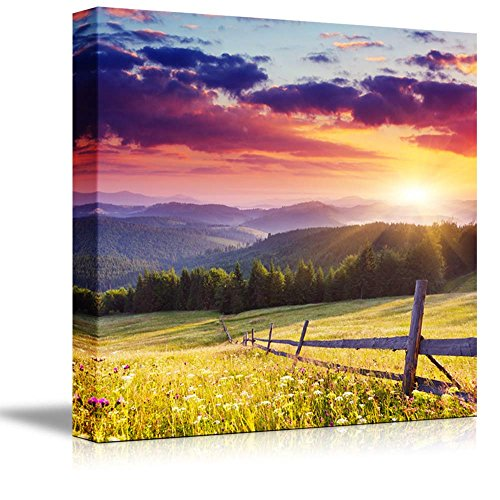 Canvas Prints Wall Art - Majestic Sunset in The Mountains Landscape, Beautiful Mountain Scenery | Modern Wall Decor/Home Art Stretched Gallery Canvas Wraps Giclee Print & Ready to Hang - 24' x 24'