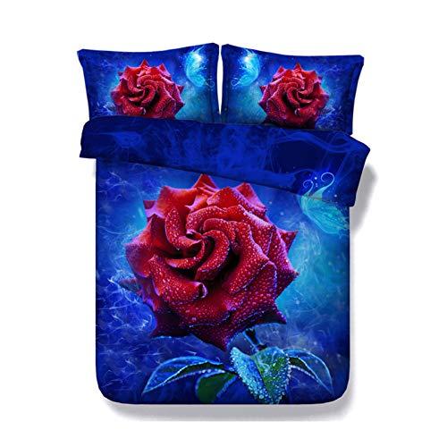 KORANGE Juego De 3 Piezas Rosas Azules Y Rojas Funda De Edredón 2 Fundas De Almohada Lecho Microfibra Cierre De Cremallera (Size : Single/Twin 150x200cm (59' x 79'))