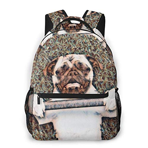 Lawenp Mochila Casual Multifuncional, Mochila de Tendencia de Moda, Mochila Linda 11.5 X 16 '' 'X 8' '' 'Gimnasio Divertido para Levantar Pesas Pug Dog Puppy Gym