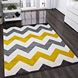 Moderner Teppich Zickzack Muster Meliert, Farbe:Gelb, Maße:160x220 cm