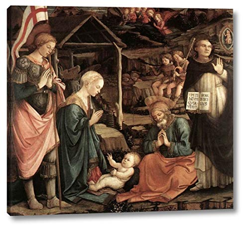 """Adoration of The Child with Saints by Fra Filippo Lippi - 15"""" x 16"""" Gallery Wrap Canvas Art Print - Ready to Hang"""