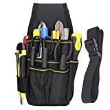 BAIGIO Tool Pouch Canvas Small Pocket Tool Bag with Adjustable Nylon Belt