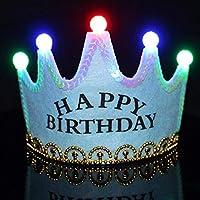 LED王冠帽子 子供用 冠 ティアラ 誕生日 仮装 HAPPY BIRTHDAY ブルー