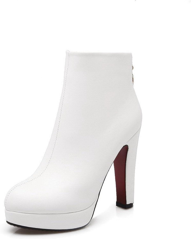 WeenFashion Women's Zipper Closed Round Toe High-Heels PU Ankle-high Boots