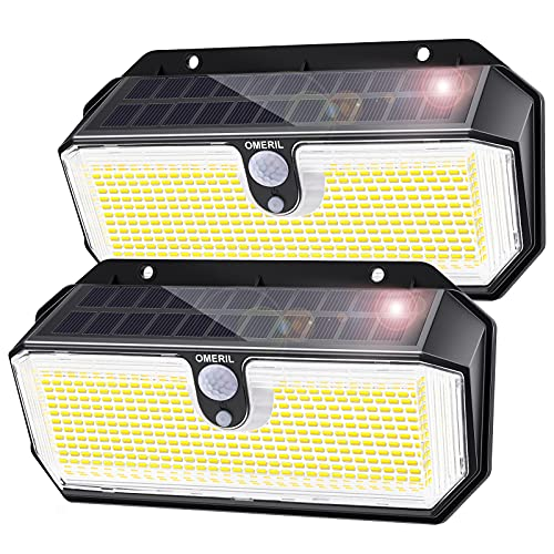 OMERIL Solar Lights Outdoor, 282 LED 2600LM Solar Motion Sensor Lights with 3 Lighting Modes, IP65 Waterproof Super Bright Outdoor Lights Solar Powered for Garden Patio Yard Garage Deck Steps(2Pack)