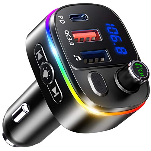 Bovon Bluetooth Auto, PD 18W & QC3.0 V5.0 Trasmettitore Bluetooth per Auto con Microfono Potente, 9 Controluce a LED RGB, Kit Vivavoce Bluetooth da Auto, Supporto Assistente Google Siri, Disco U