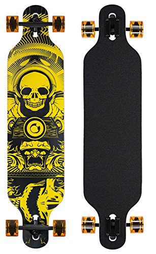 Longboard Skateboard Drop Through 104cm Skate Board ABEC 9 Holzboard Komplett (Gelb)