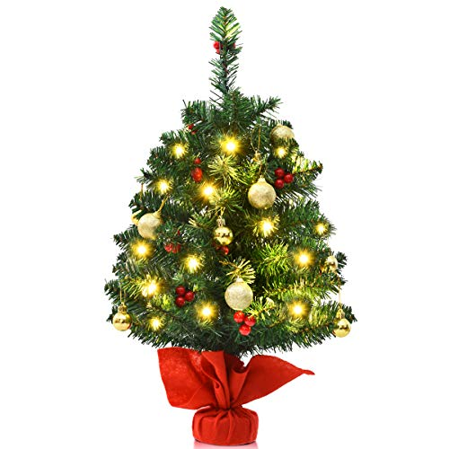 Goplus 2ft Artificial Christmas Tree Tabletop PVC Premium Full Tree with 15 Warm White LED Lights, Golden Ornaments, Red Berries, Stable Cement Base Battery Operated Christmas Tree