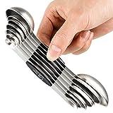 Set di 7 cucchiai dosatori magnetici in acciaio inox per misurare ingredienti secchi e liq...