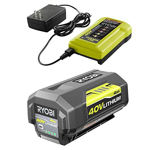 Ryobi 40V Battery and Charger Kit 4.0 Ah Lithium-Ion Battery Set OEM OP4040 + OP404 (Renewed)