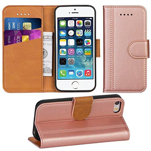 Adicase iPhone 5 Hülle Leder Wallet Tasche Flip Hülle Handyhülle Schutzhülle für Apple iPhone 5/5S/SE (Rose Gold)