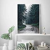 HGlSG Bosque Naturaleza fotografía árboles Arte de la Pared Lienzo Foto Carretera Foto escandinavo póster impresión Dormitorio Pared Arte decoración60x90cm(Sin Marco)