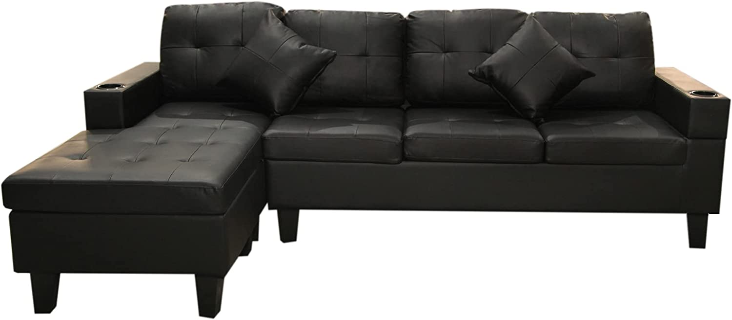 COODENKEY Modern PU Sectional Sofa Selling rankings 4-Seat New product!! R Couch L-Shape Living