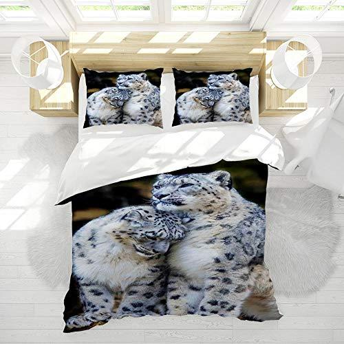 Leopardo 1 Funda Nordica 120x150cm + 1 Fundas de Almohada 42x62cm,Pareja Familia Romance Ropa de Cama Infantil de Microfibr, Juego de Ropa de Cama Cierre con Cremallera