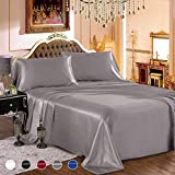 wavveUziz Satin Sheets Queen Size Grey Satin Bed Sheet Set 16' Deep Pocket Silky Satin Sheet Set with 1 Fitted Sheet, 1 Flat Sheet and 2 Pillow Cases- Wrinkle, Fade, Stain Resistant- 4 Piece