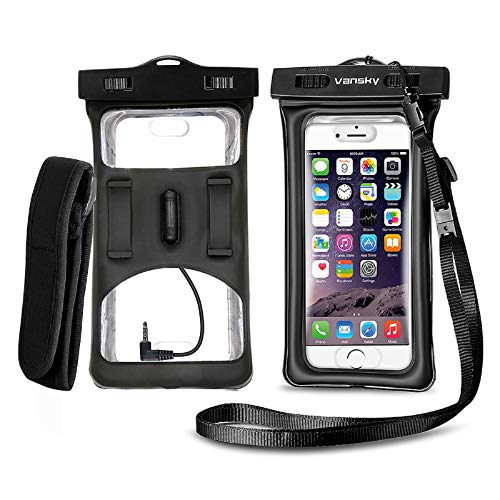 Floatable Waterproof Phone Case, Vansky Waterproof Phone Pouch with Armband and Audio Jack for iphone 11 X, 8 Plus, 7 Plus, 6S, Sansung LG Huawei