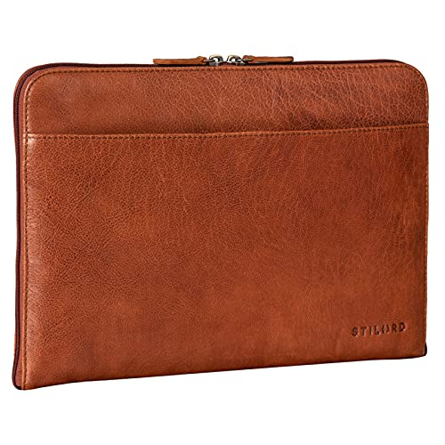 STILORD 'Troy' Funda de Cuero para Portátil de 13,3 Pulgadas Funda Vintage para MacBook o Laptop 13' Carpeta de Documentos Portafolio para Ordenador de Piel, Color:maraska - marrón