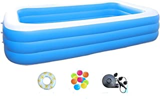 DUSANER Quality goods Family Pool, Ocean Ball Pool, Paddling Pool, 3 Ring Heightening - PVC - Charged Pump - Bubble Bottom (Size : 260 * 170 * 68cm) Boutique light up life (Size : 318×183×68cm)