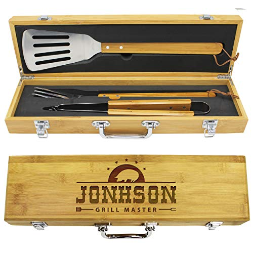 Great Price! The Wedding Party Store Engraved Grill BBQ Gifts Set for Dad Father Him - Custom Barbec...