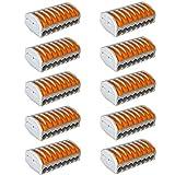 QitinDasen 10Pcs Premium PCT-218 Palanca Tuerca Cable Conector Set, 8 Puertos Conductor Compacto Cable Conector, Rápido Resorte Conector Bloque Terminal