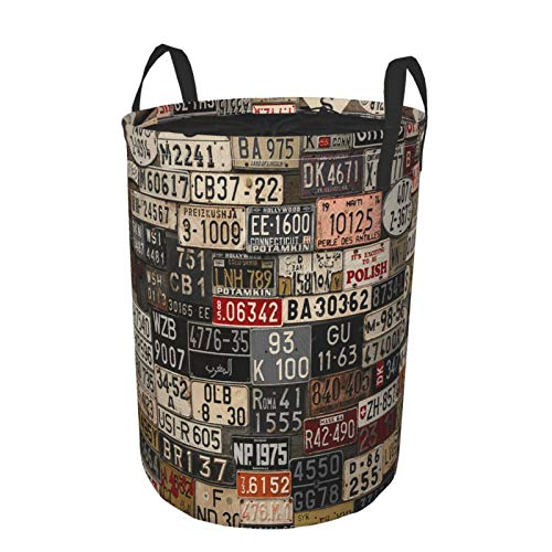 MAYBELOST Collapsible Large Clothes Hamper for Household,USA Retro Car License Plate,Storage Bin Laundry Basket Waterproof with Drawstring,16.5' x 21.6'