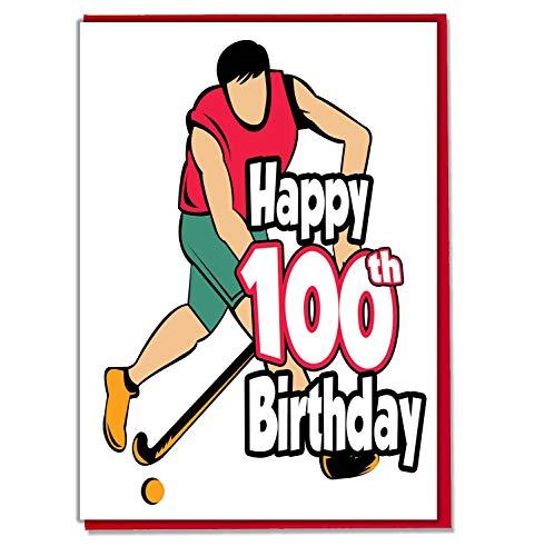 Field Hockey - 100e verjaardagskaart - mannen, zoon, kleinzoon, vader, broer, man, vriend, vriend