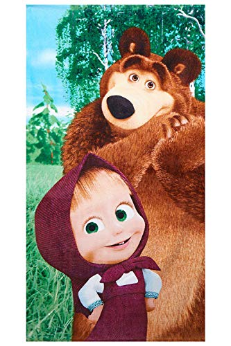 Mascha und der Bär im Wald Badetuch aus 100% Baumwolle, Strandtuch mit Öko Tex Standard 100 für Kinder