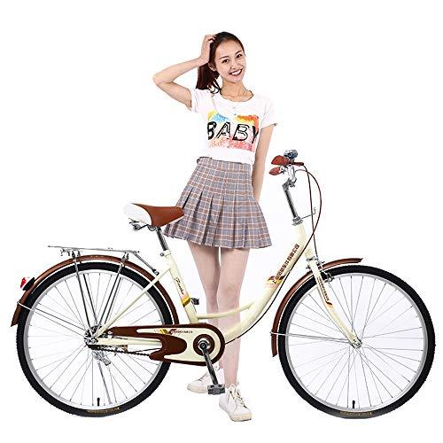 MLSH Bicicletta da Donna Vintage da 24 Pollici, Bicicletta da Città per Esterno in Acciaio al Carbonio, Bicicletta Sportiva da Studentessa - Beige