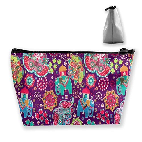 Floral Elephants Portable Maquillage Sac de Rangement Sac de Grande Capacité Main Travel Wash Bag