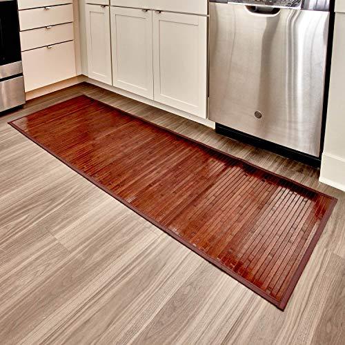 iDesign rutschfeste Fußmatte, wasserabweisende Bambusmatte, großer Läufer aus Bambus für Bad, Küche und Flur, mokkabraun, 61 x 182 cm